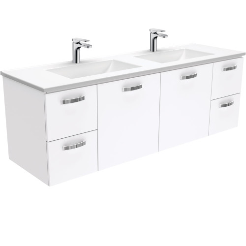 Vanessa UniCab™ 1500 Double Bowl Wall-Hung Vanity-1 Taphole [168828]