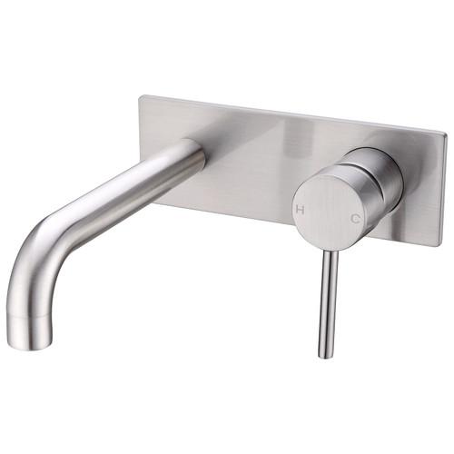 Wall Basin Mixer(Stylish Spout)-Brushed Nickel [194965]