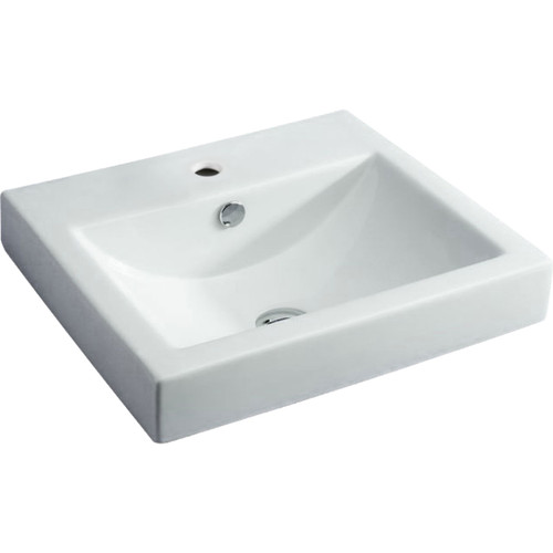BASIN LOW PROFILE SEMI INSET 500X445X158MM W/-PU WASTE WHT [191142]