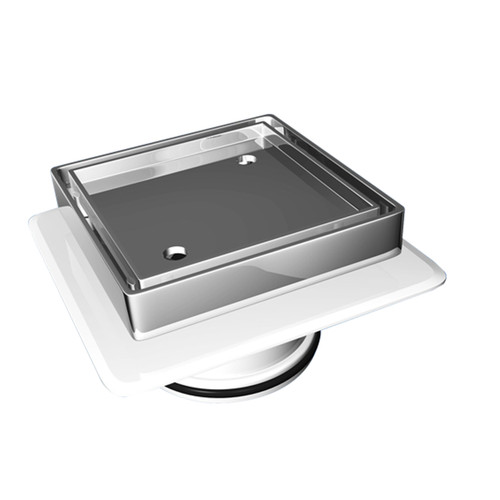 Bermuda Square Tile Insert Floor Waste with Megaflex™ Flange, 80mm outlet. Chrome [118111]
