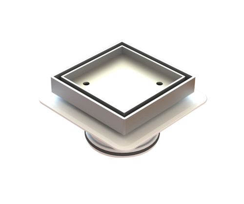 "Bermuda ""Lowline""  Square Tile Insert Floor Waste with Megaflex™ Flange, 80mm outlet. Chrome [139676]"