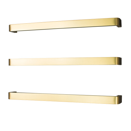 Radiant GLD-VAIL-650 Single square bar with rounded ends Bar 650mm Brushed Gold [190568]