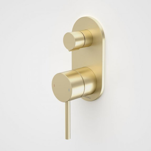 Liano II Bath / Shower Mixer With Diverter - Rounded Cover Plate - Brushed Brass - Sales Kit [196058]