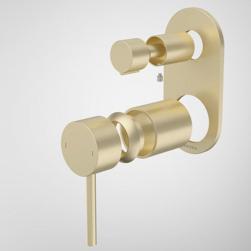 Liano II Bath / Shower Mixer With Diverter Trim Kit - Rounded Cover Plate - Brushed Brass [196063]