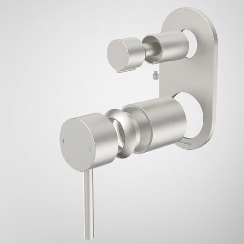 Liano II Bath / Shower Mixer With Diverter Trim Kit - Rounded Cover Plate - Brushed Nickel [196064]