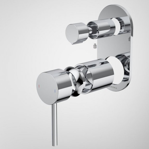 Liano II Bath / Shower Mixer With Diverter Trim Kit - Rounded Cover Plate - Chrome [196065]