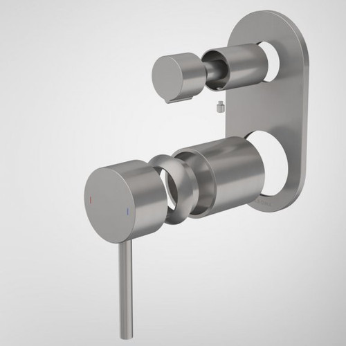 Liano II Bath / Shower Mixer With Diverter Trim Kit - Rounded Cover Plate - Gunmetal [196066]