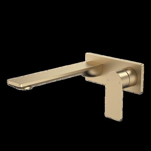 Urbane II 220mm Wall Basin / Bath Mixer - Rectangular Cover Plate - Brushed Brass - Sales Kit [196194]