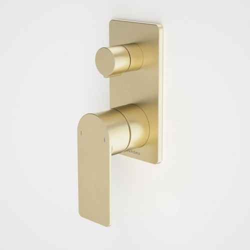 Urbane II Bath / Shower Mixer With Diverter - Rectangular Cover Plate - Brushed Brass - Sales Kit [196245]