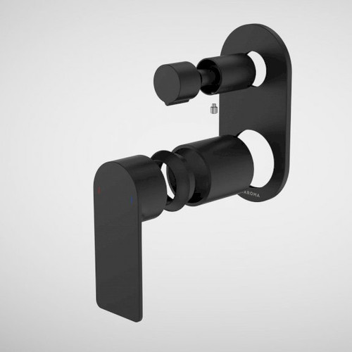 Urbane II Bath / Shower Mixer With Diverter Trim Kit - Round Cover Plate - Matte Black [196253]