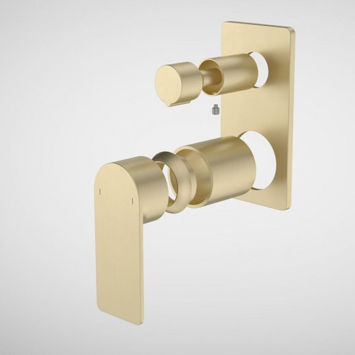 Urbane II Bath / Shower Mixer With Diverter Trim Kit - Rectangular Cover Plate - Brushed Brass [196259]