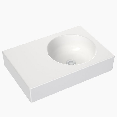 Round Wall Basin Left Hand Shelf 600mm (No Tap Hole) [165340]