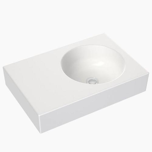 Round Wall Basin Left Hand Shelf 600mm (No Tap Hole) [165340]