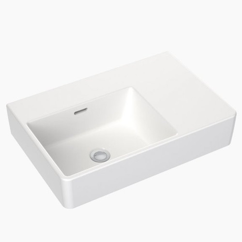 Square Wall Basin Right Hand Shelf 600mm (No Tap Hole) [165351]