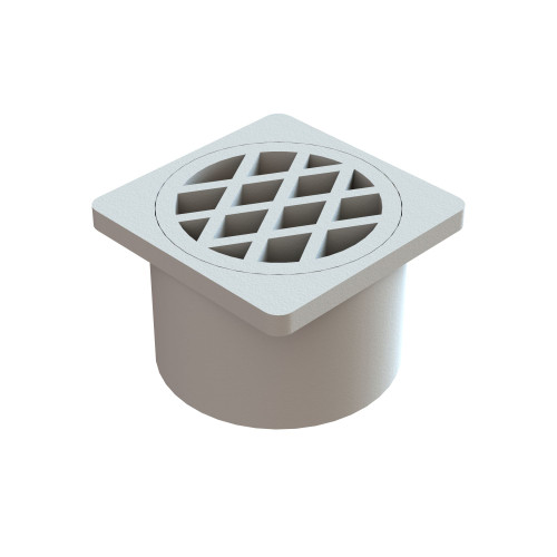 Plastic Square Floor Waste, In pipe, 80mm Outlet, White [017000]
