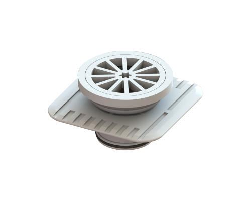 Plastic Round Floor Waste, 80mm with Megaflex™ Flange, 50mm outlet, White [025206]