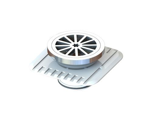 Plastic Round Floor Waste, 80mm with Megaflex™ Flange. 50mm outlet, Chrome [025294]