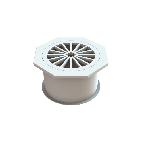 Plastic Octaganal Floor Waste, 100mm with Fins. White [024966]