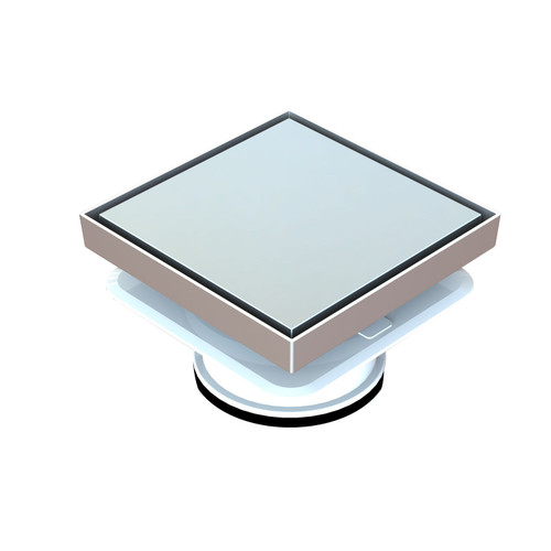 Bermuda Deluxe Square Reflections 150mm Floor Waste with Megaflex™ Flange, 100mm outlet. Chrome [139681]