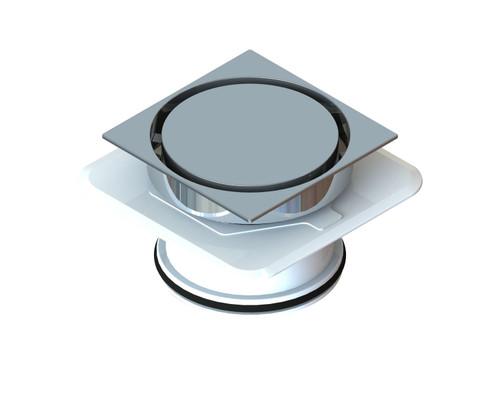 Bermuda Round on Square Flipper Floor Waste with Megaflex™ Flange, 100mm outlet. Chrome [139672]