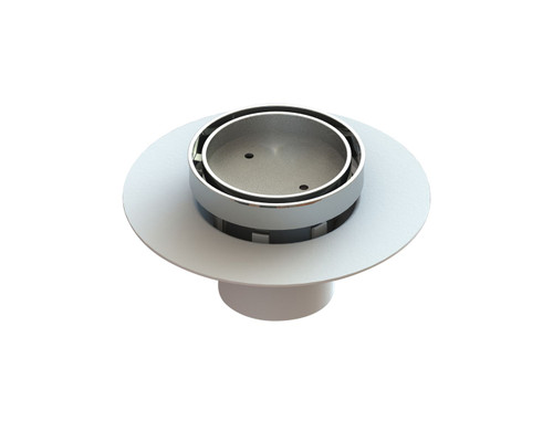 Bermuda Round Tile Insert Floor Waste with Leak Control Flange. 80mm connection. Chrome [139673]