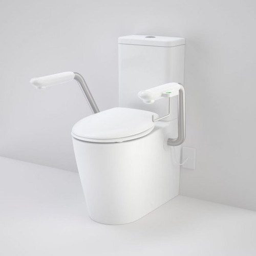 Care 660 Cleanflush Wall Faced Close Coupled Easy Height Back Entry Suite with Nurse Call Armrests Left and Caravelle Double Flap Seat White [191969]