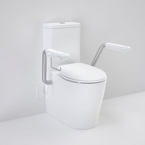 Care 660 Cleanflush Wall Faced Close Coupled Easy Height Back Entry Suite with Nurse Call Armrests Right and Caravelle Double Flap Seat White [191970]