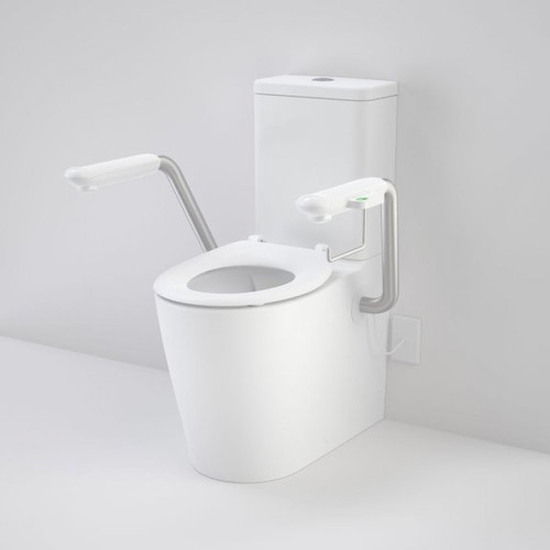 Care 660 Cleanflush Wall Faced Close Coupled Easy Height Back Entry Suite with Nurse Call Armrests Left and Caravelle Single Flap Seat White [191972]