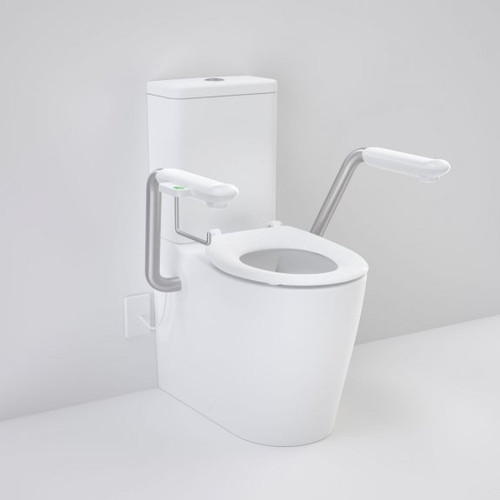 Care 660 Cleanflush Wall Faced Close Coupled Easy Height Back Entry Suite with Nurse Call Armrest Right and Caravelle Single Flap Seat White [191973]