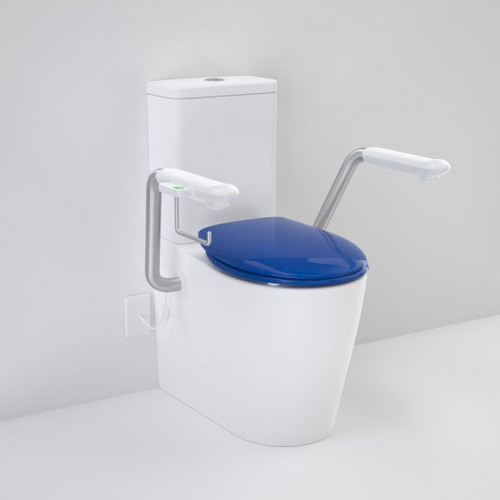 Care 660 Cleanflush Wall Faced Close Coupled Easy Height BI Suite with Nurse Call Armrests Right and Caravelle Double Flap Seat Sorrento Blue [191977]