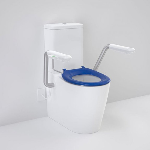 Care 660 Cleanflush Wall Faced Close Coupled Easy Height BI Suite with Nurse Call Armrests Right and Caravelle Single Flap Seat Sorrento Blue [191981]