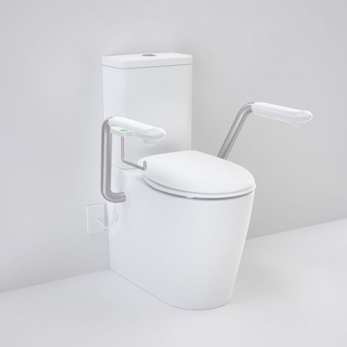 Care 660 Cleanflush Wall Faced Close Coupled Easy Height BI Suite with Nurse Call Armrests Right and Caravelle Double Flap Seat White [191993]
