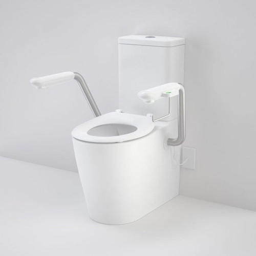 Care 660 Cleanflush Wall Faced Close Coupled Easy Height BI Suite with Nurse Call Armrests Left and Caravelle Single Flap Seat White [191995]