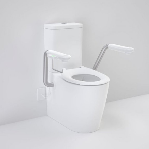 Care 660 Cleanflush Wall Faced Close Coupled Easy Height BI Suite with Nurse Call Armrests Right and Caravelle Single Flap Seat White [191996]