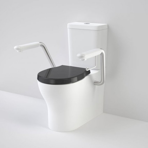 Opal Cleanflush Easy Height Wall Faced Close Coupled Suite with Double Flap Seat Black and Armrest [192081]