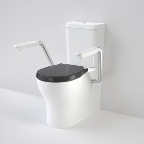Opal Cleanflush Easy Height Wall Faced Close Coupled Suite with Double Flap Seat and Nurse Call Armrest Left [192082]