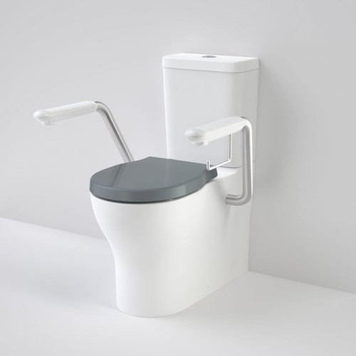 Opal Cleanflush Easy Height Wall Faced Close Coupled Suite with Double Flap Seat Anthracite Grey and Armrest [192086]