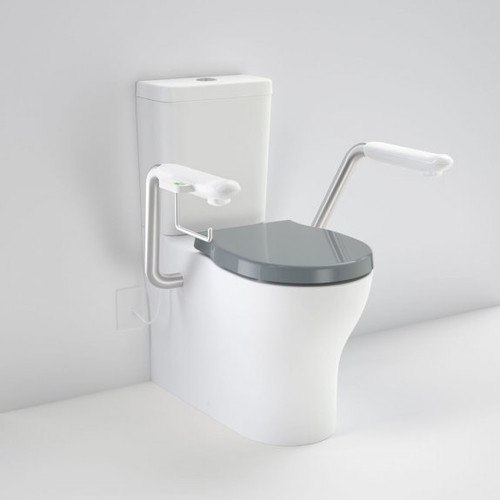 Opal Cleanflush Easy Height Wall Faced Close Coupled Suite with Double Flap Seat Black and Nurse Call Armrest Right [192088]