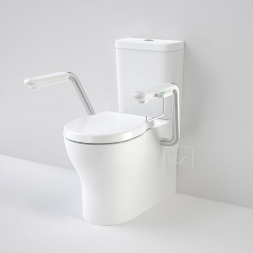 Opal Cleanflush Easy Height Wall Faced Close Coupled Suite with Double Flap Seat and Nurse Call Armrest Left [192089]