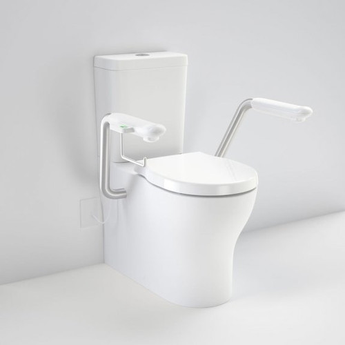 Opal Cleanflush Easy Height Wall Faced Close Coupled Suite with Double Flap Seat and Nurse Call Armrest Right [192090]
