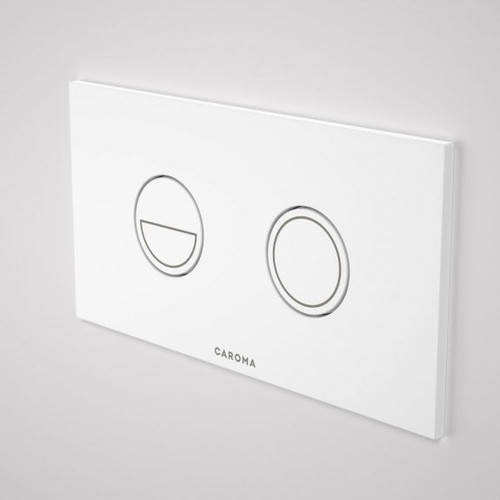 Invisi Series II® Round Dual Flush Plate & Buttons (Metal) White Buttons, White Plate [192454]