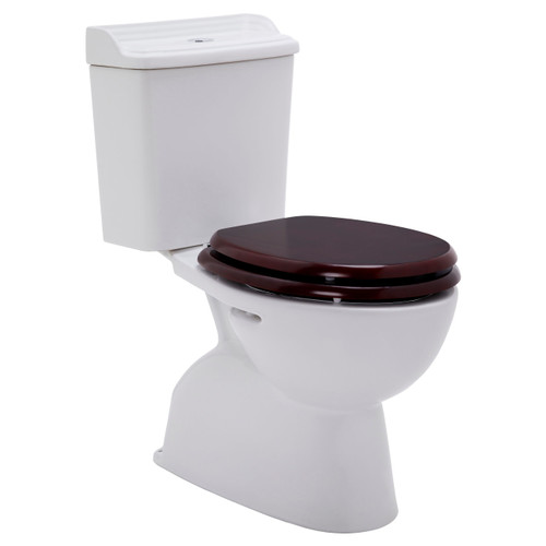 Colonial Ii C/C Toilet Suite S Trap Incl Mahogany Seat Chr Trim [198642]