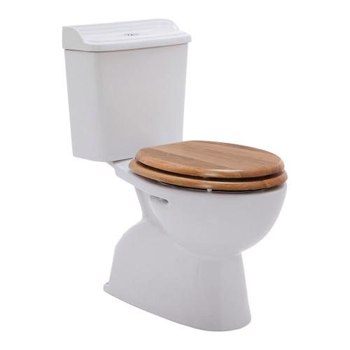 Colonial Ii C/C Toilet Suite S Trap Incl Oak Seat Chr Trim [198643]