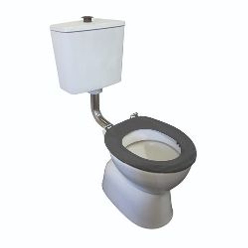Plaza Assist Deluxe Vc Link Toilet Suite Incl Grey Sf Seat & Raised Chrome Button S Trap [198655]