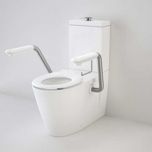 Care 800 Easy Height Wall Faced Closed Coupled Toilet Suite Caravelle Single Flap Seat + Arm Rest White [191999]