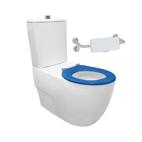 Gemelli Care Ftw Rimless Toilet Suite Incl Blue Sf Seat & Raised Chrome Button [201238]