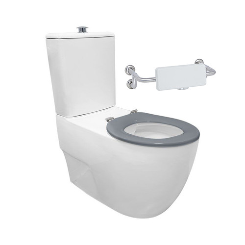 Gemelli Care Ftw Rimless Toilet Suite Incl Grey Sf Seat & Raised Chrome Button [201239]