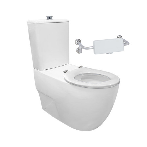 Gemelli Care Ftw Rimless Toilet Suite Incl White Sf Seat & Raised Chrome Button [201240]
