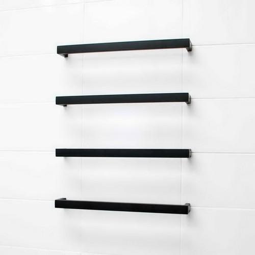 Radiant Square Single Bar Heated Towel Rail 15W 650mm Matte Black [154230]