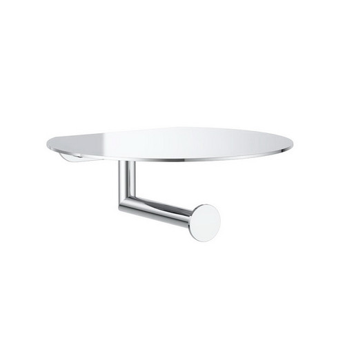 Round Toilet Roll Holder with Shelf Chrome [156478]